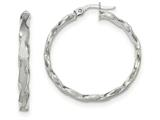 14k White Gold Satin And Polished Scalloped Edge Hoop Earrings style: TF908