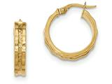 14k Textured And Polished Hoop Earrings style: TF909