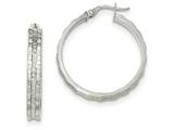 14k White Gold Textured And Polished Hoop Earrings style: TF912