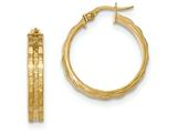 14k Textured And Polished Hoop Earrings style: TF913