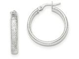 14k White Gold Textured Hoop Earrings style: TF915
