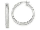 14k White Gold Textured Hoop Earrings style: TF916