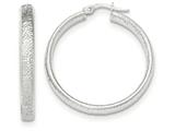 14k White Gold Textured Hoop Earrings style: TF917
