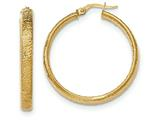 14k Textured Hoop Earrings style: TF918