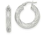 14k White Gold Textured Tube Hoop Earrings style: TF922