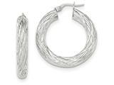 14k White Gold Textured Tube Hoop Earrings style: TF923