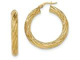 14k Textured Tube Hoop Earrings style: TF925