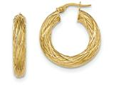 14k Textured Tube Hoop Earrings style: TF927