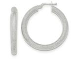 14k White Gold Diamond Cut Tube Hoop Earrings style: TF929