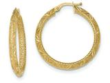 14k Textured Bright Cut Hoop Earrings style: TF931