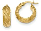 14k Satin And Polished Hoop Earrings style: TF932