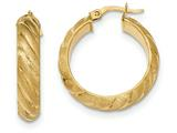14k Satin And Polished Hoop Earrings style: TF933