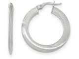 14k White Gold Satin Hoop Earrings style: TF936