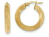 14k Satin And Polished Beveled Edge Hoop Earrings style: TF938