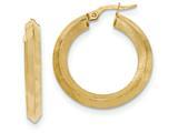 14k Satin And Polished Beveled Edge Hoop Earrings style: TF939