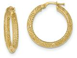 14k Textured Diamond Cut Hoop Earrings style: TF940