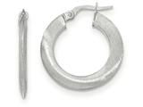 14k White Gold Satin Hoop Earrings style: TF941