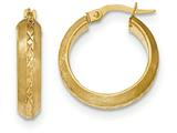 14k Satin And Polished Diamond Cut Hoop Earrings style: TF944