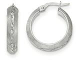 14k White Gold Satin and Polished Diamond Cut Hoop Earrings style: TF945