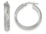 14k White Gold Satin and Polished Bright Cut Hoop Earrings style: TF947