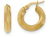 14k Satin And Polished Beveled Edge Hoop Earrings style: TF948