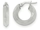 14k White Gold Satin And Polished Beveled Edge Hoop Earrings style: TF949