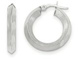 14k White Gold Satin And Polished Beveled Edge Hoop Earrings style: TF950