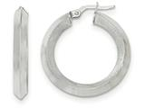 14k White Gold Satin And Polished Beveled Edge Hoop Earrings style: TF951