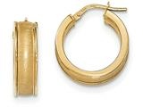 14k Polished And Satin Hoop Earrings style: TF955