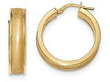 14k Polished And Satin Hoop Earrings style: TF956