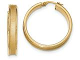 14k Polished and Satin Hoop Earrings style: TF957
