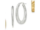 14k White Gold Polished and Satin Diamond Cut Oval Hoop Earrings style: TF964