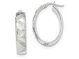 14k White Gold Polished Diamond Cut Oval Hoop Earrings style: TF966