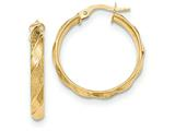 14k Polished And Textured Hoop Earrings style: TF985