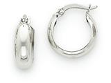 14k White Gold 4mm Round Hoop Earrings style: TH276