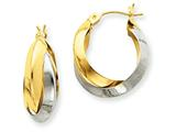14k Two-tone Polished Knife-edge Double Hoop Earrings style: TH330