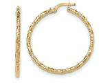 14k Polished And Textured Hoop Earrings style: TH672
