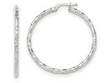 14k White Gold Polished And Textured Hoop Earrings style: TH673