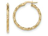 14k Polished And Textured Hoop Earrings style: TH674