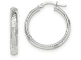 14k White Gold Polished Textured Large Round Hoop Earrings style: TH677