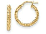 14k Beveled Ridged Edge Hoop Earrings style: TH680