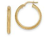 14k Beveled Ridged Edge Hoop Earrings style: TH682