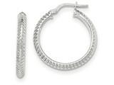 14k White Gold Beveled Ridged Edge Hoop Earrings style: TH683