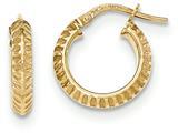 14k Beveled Ridged Edge Hoop Earrings style: TH684