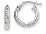 14k White Gold Beveled Ridged Edge Hoop Earrings style: TH685