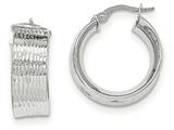14k White Gold Polished And Textured Hoop Earrings style: TH687