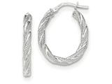 14k White Gold Twisted Textured Oval Hoop Earrings style: TH689