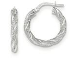 14k White Gold Twisted Textured Hoop Earrings style: TH690
