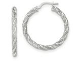 14k White Gold Twisted Textured Hoop Earrings style: TH692