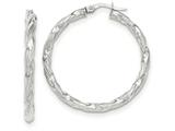 14k White Gold Twisted Textured Hoop Earrings style: TH700